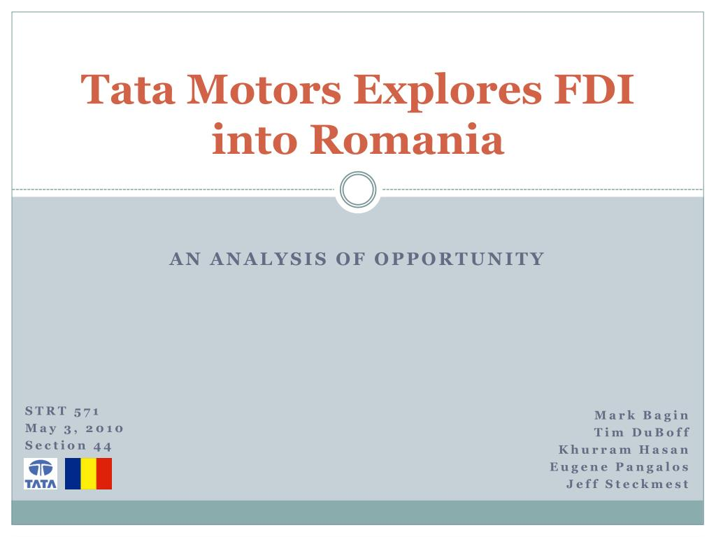 Tata Motors Explores FDI into Romania
