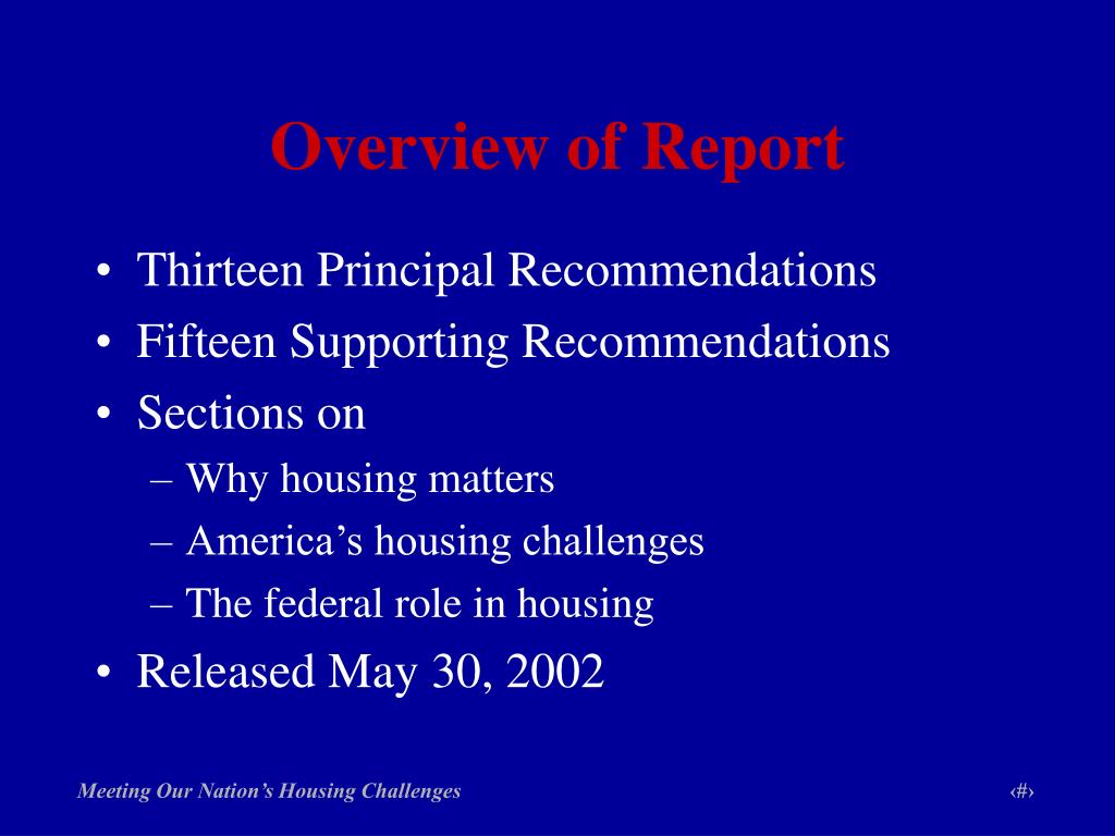 Overview of Report