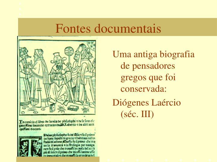 Uma antiga biografia de pensadores gregos que foi conservada: