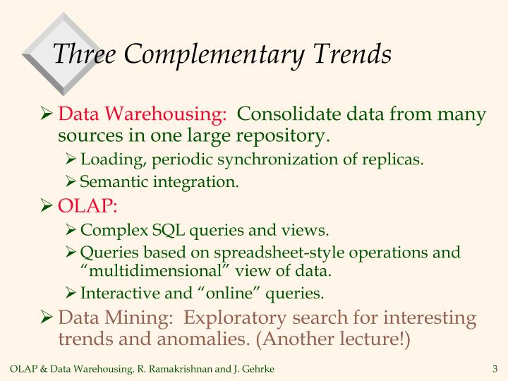 Three complementary trends