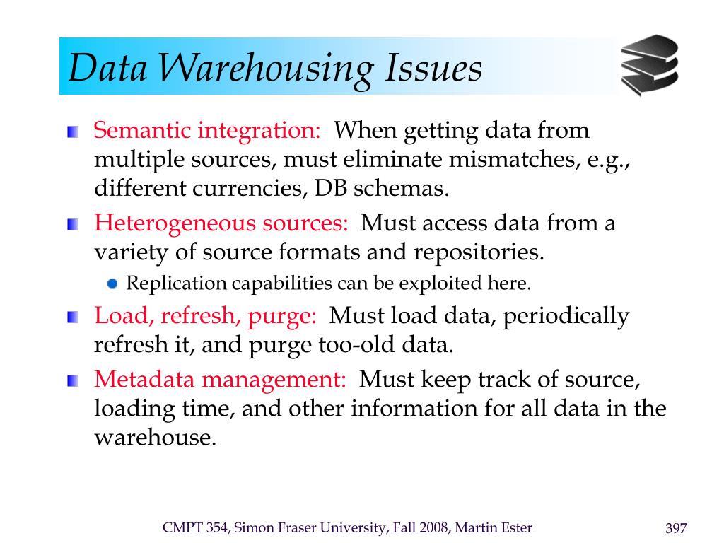 Data Warehousing Issues