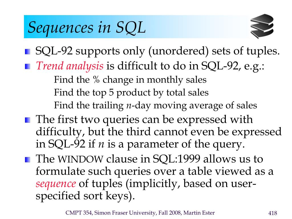 Sequences in SQL