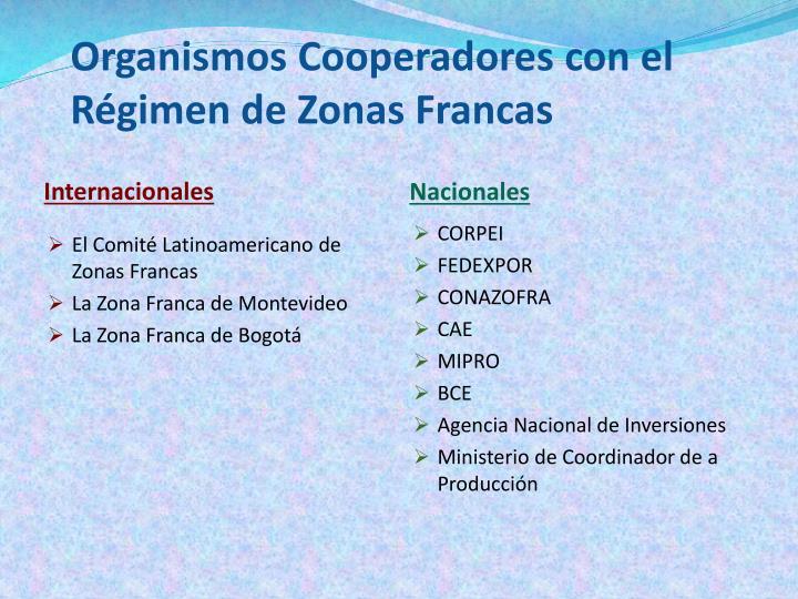 Organismos Cooperadores con el Régimen de Zonas Francas