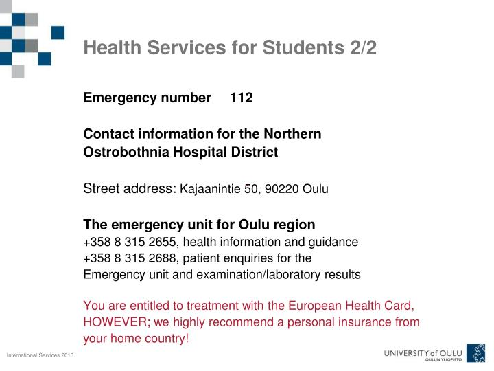 Health Services for Students 2/2