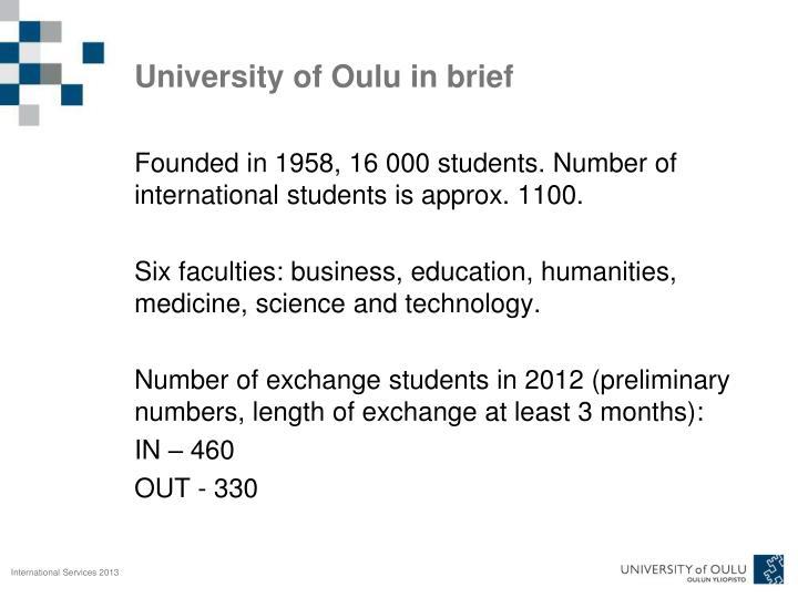 University of Oulu in brief
