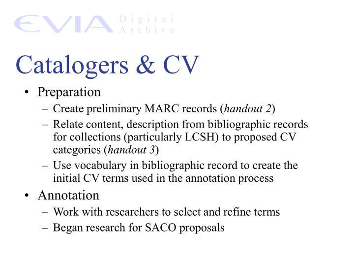 Catalogers & CV