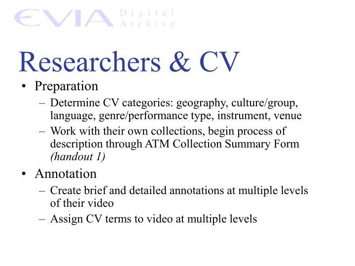 Researchers & CV