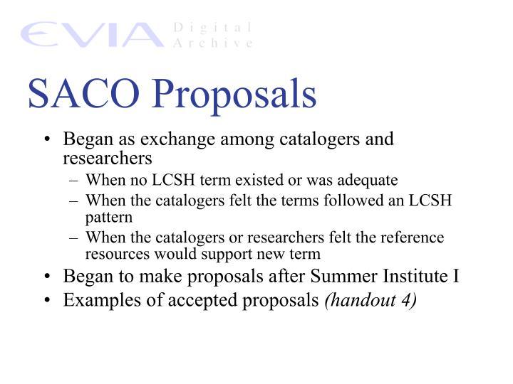 SACO Proposals