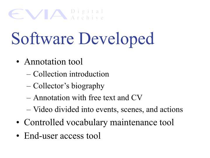 Software Developed