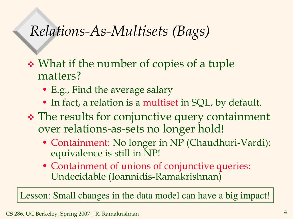 Relations-As-Multisets (Bags)