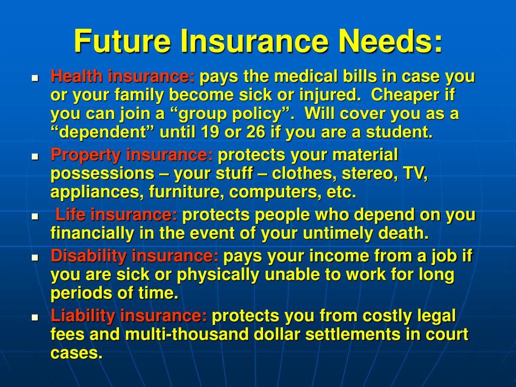 Future Insurance Needs: