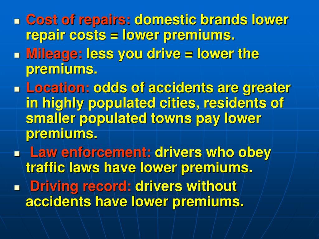 Cost of repairs: