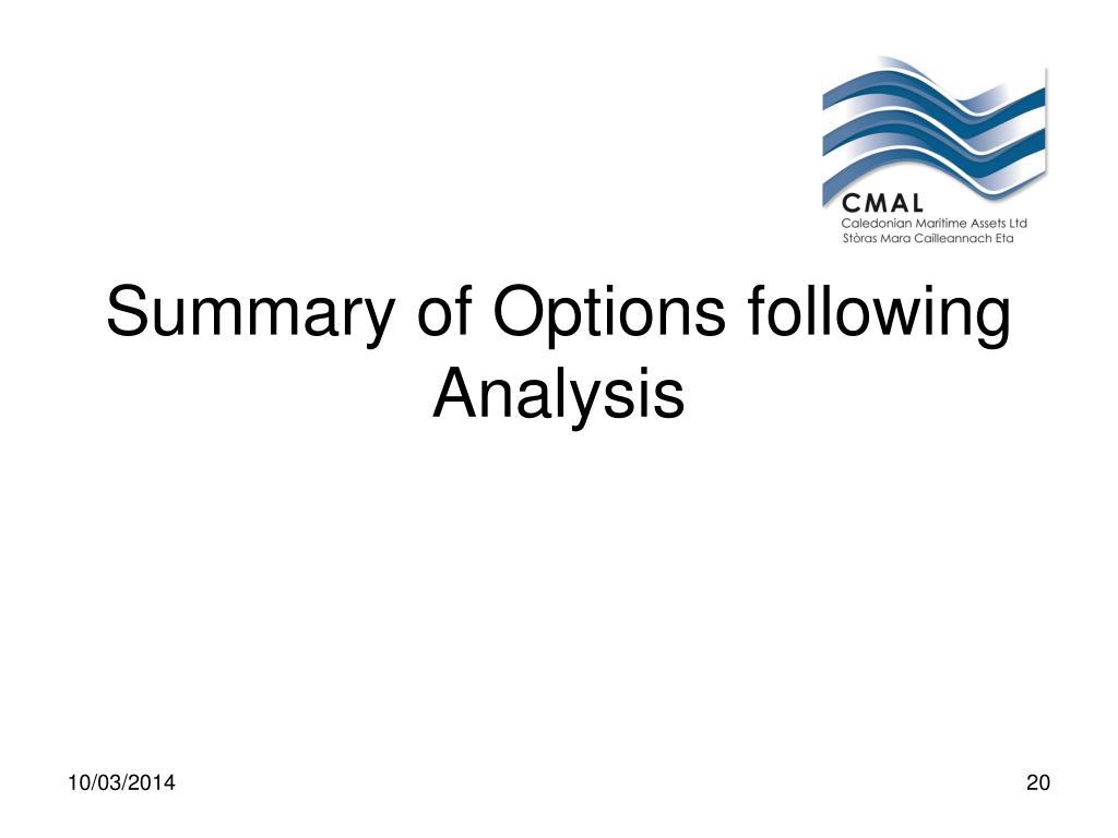Summary of Options following Analysis