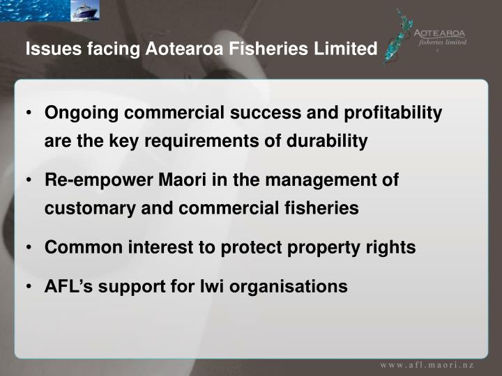 Issues facing Aotearoa Fisheries Limited