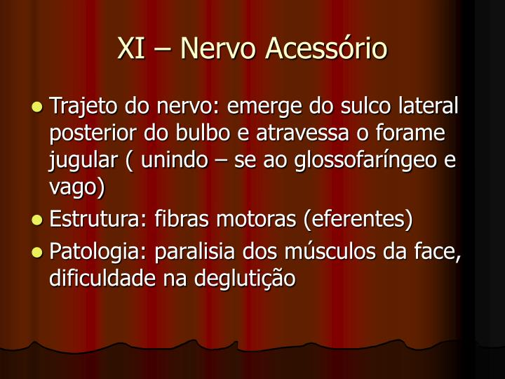 XI – Nervo Acessório
