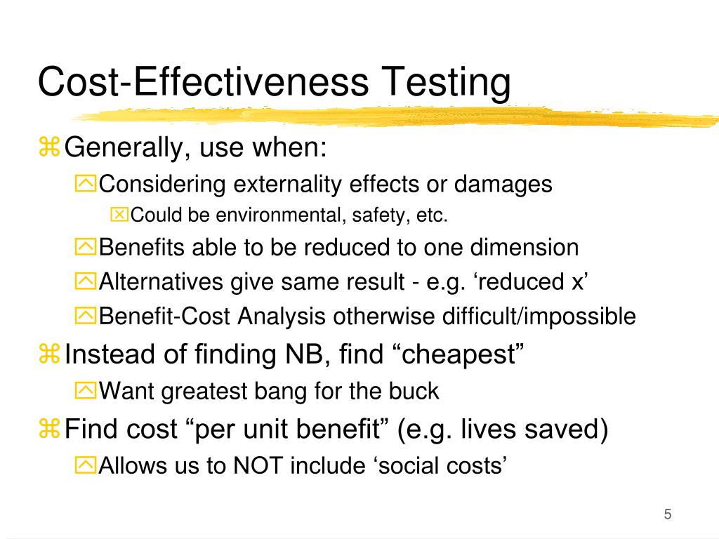 Cost-Effectiveness Testing
