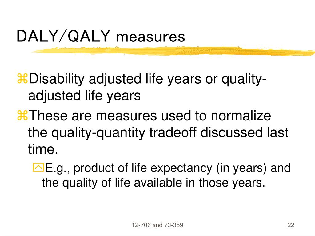 DALY/QALY measures