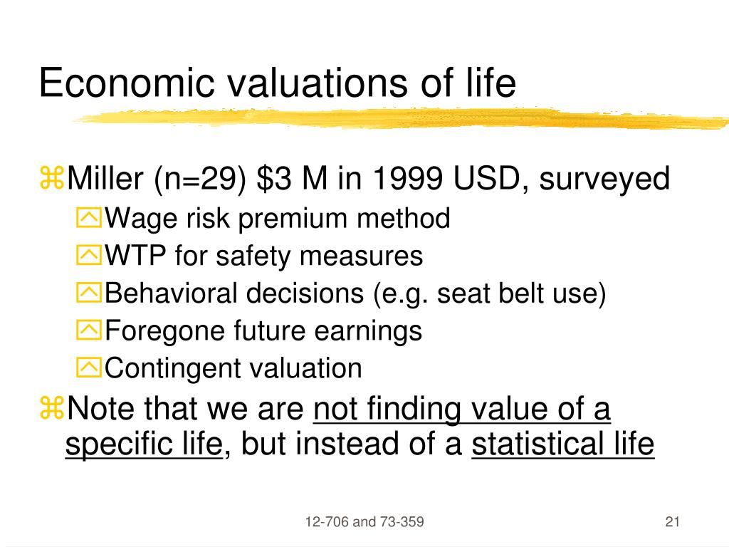 Economic valuations of life