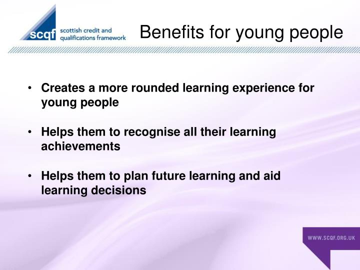 Benefits for young people