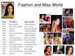 fashion and miss world