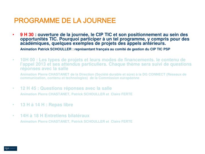 PROGRAMME DE LA JOURNEE