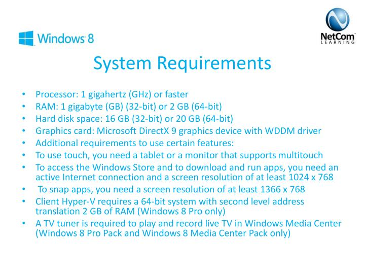 S ystem requirements