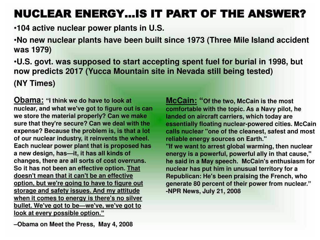 NUCLEAR ENERGY…IS IT PART OF THE ANSWER?