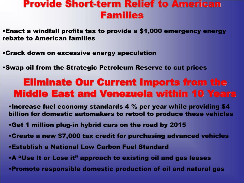 Provide Short-term Relief to American Families