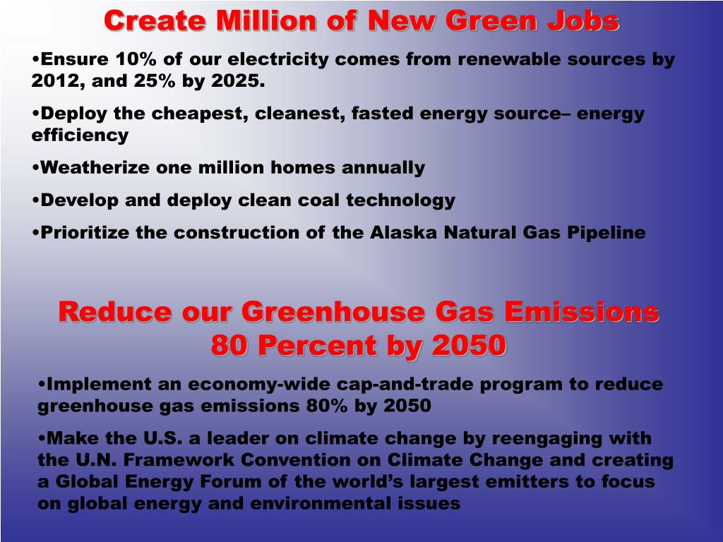 Create Million of New Green Jobs