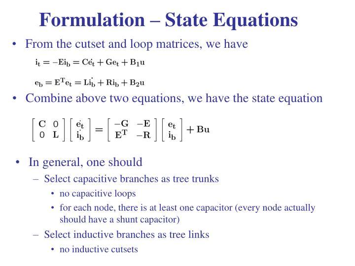 Formulation – State Equations