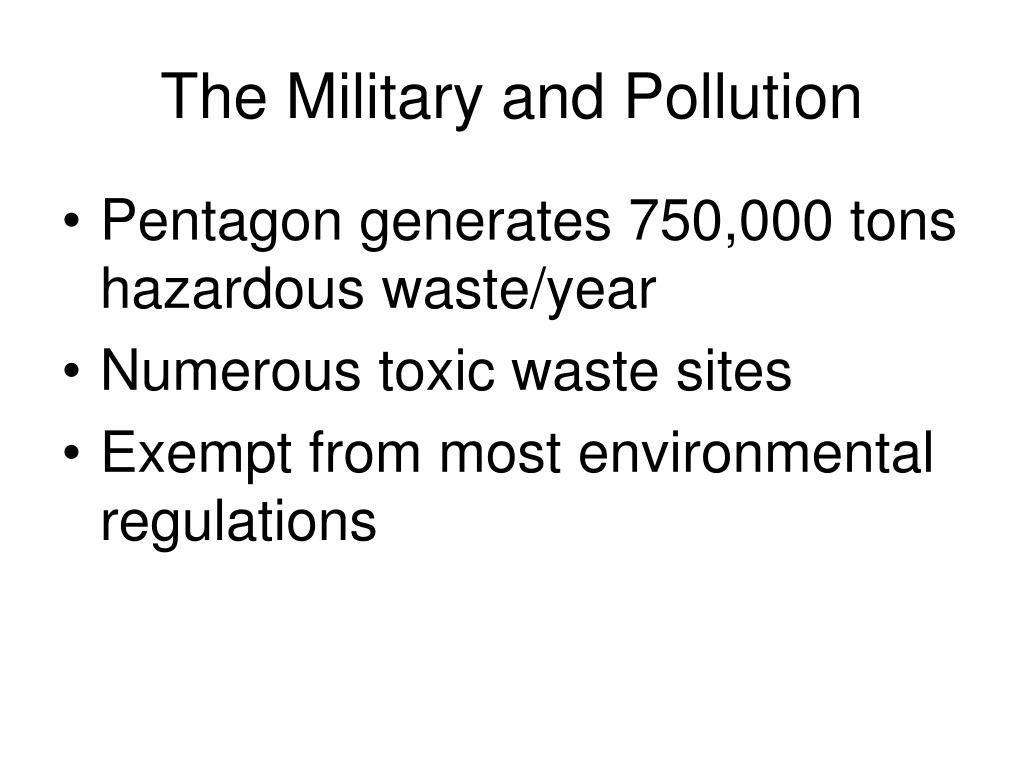 The Military and Pollution