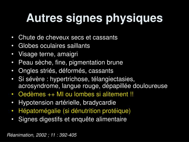 Autres signes physiques