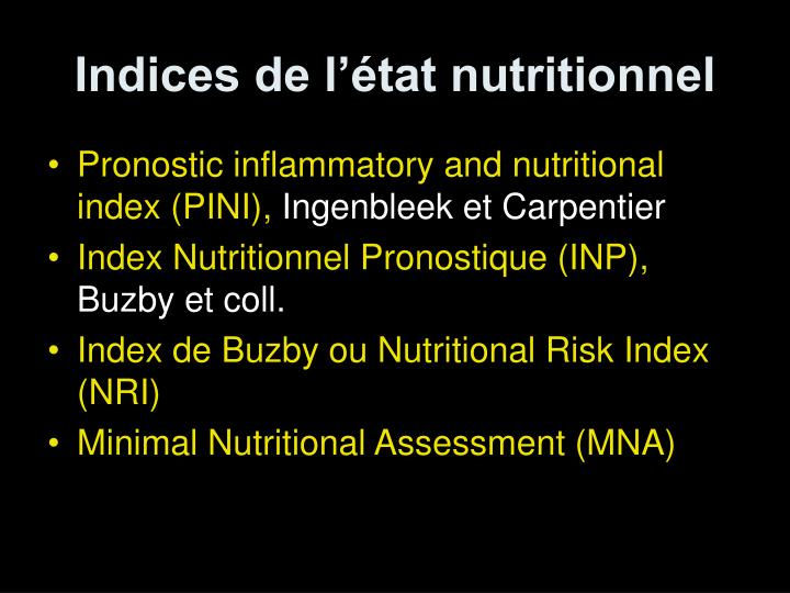 Indices de l'état nutritionnel