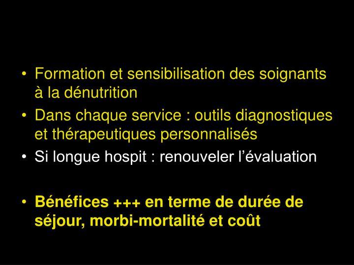 Formation et sensibilisation des soignants à la dénutrition