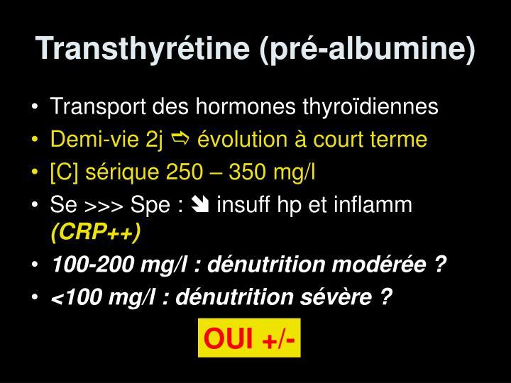 Transthyrétine (pré-albumine)
