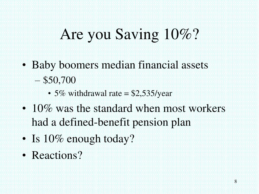 Are you Saving 10%?