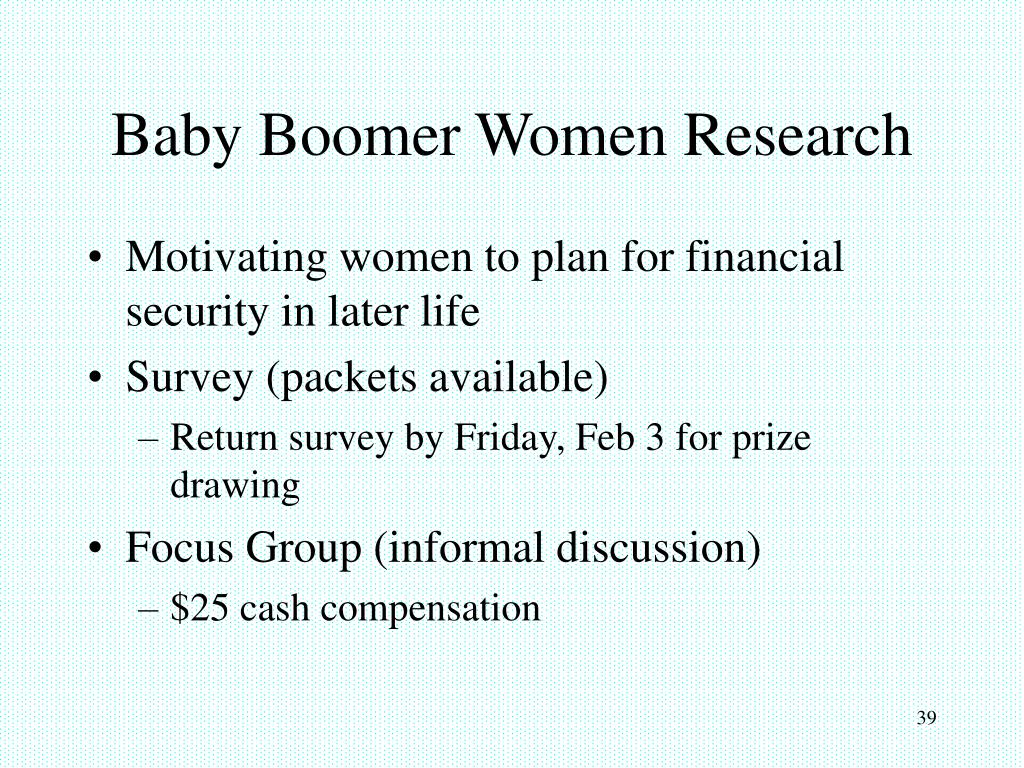 Baby Boomer Women Research