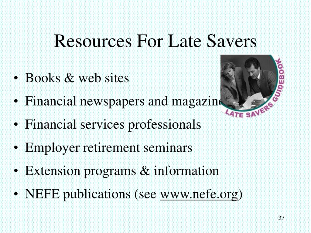 Resources For Late Savers