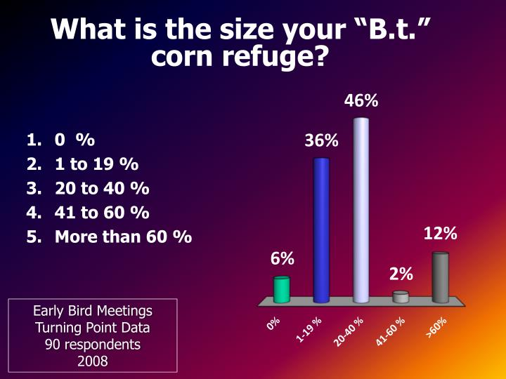 """What is the size your """"B.t."""" corn refuge?"""