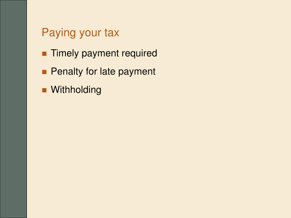 Paying your tax