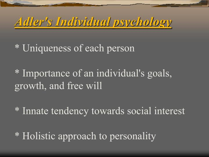 Adler's Individual psychology