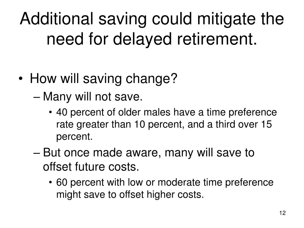 Additional saving could mitigate the need for delayed retirement.