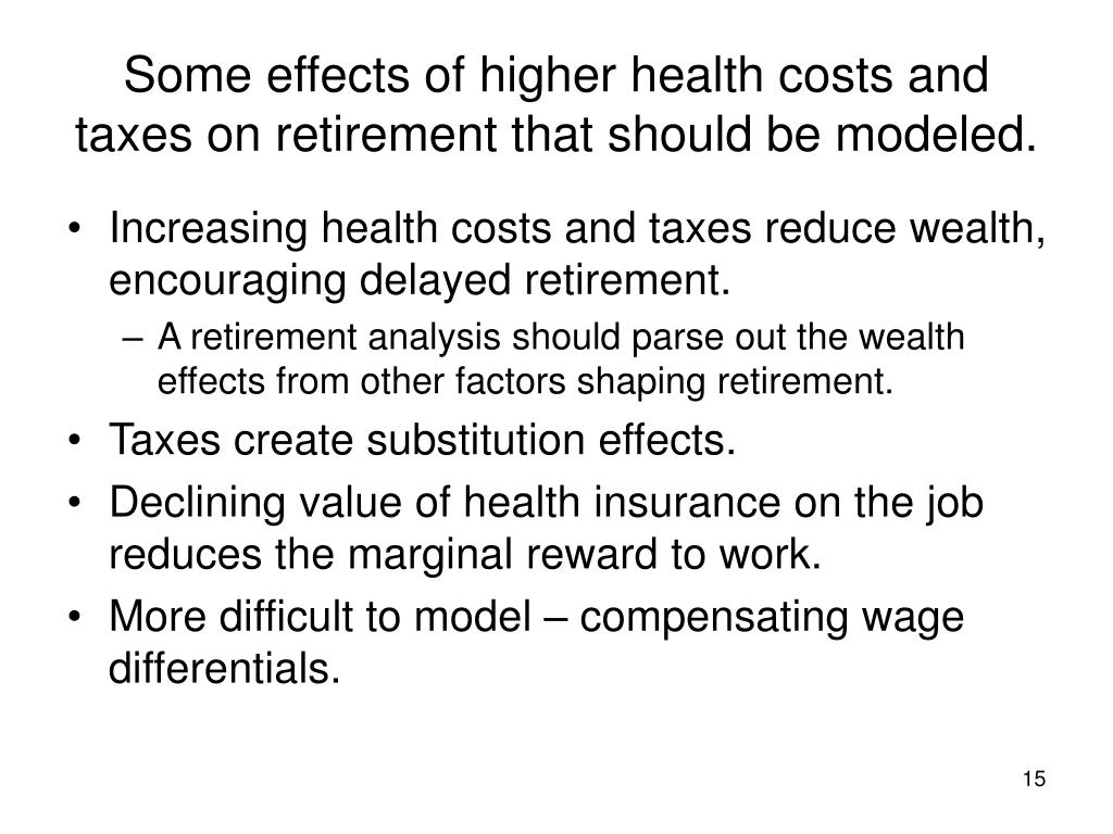 Some effects of higher health costs and taxes on retirement that should be modeled.