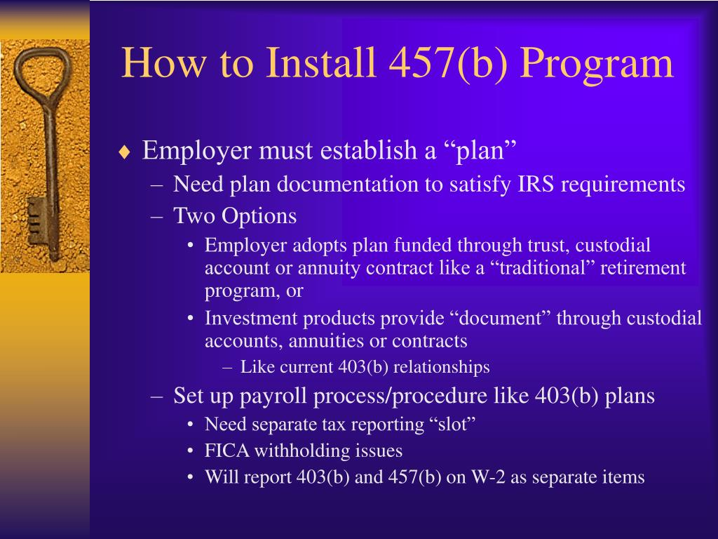 How to Install 457(b) Program