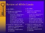 review of 403 b limits
