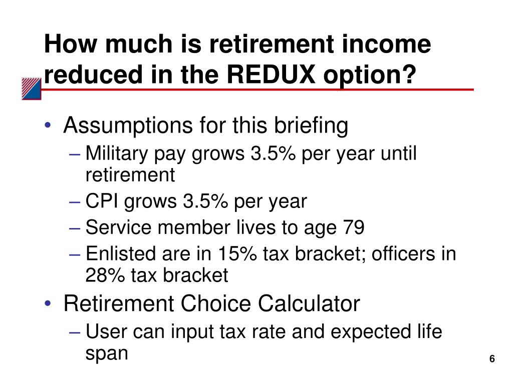 How much is retirement income reduced in the REDUX option?