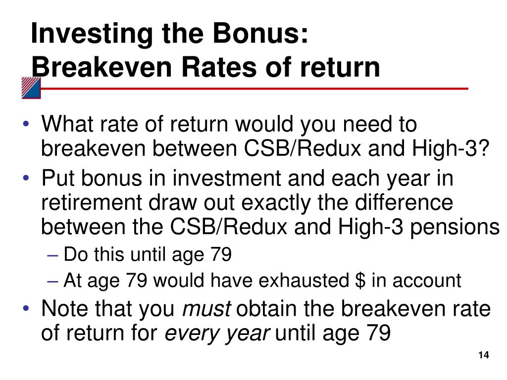 Investing the Bonus: