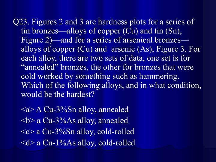 "Q23. Figures 2 and 3 are hardness plots for a series of tin bronzes—alloys of copper (Cu) and tin (Sn), Figure 2)—and for a series of arsenical bronzes—alloys of copper (Cu) and  arsenic (As), Figure 3. For each alloy, there are two sets of data, one set is for ""annealed"" bronzes, the other for bronzes that were cold worked by something such as hammering. Which of the following alloys, and in what condition, would be the hardest?"