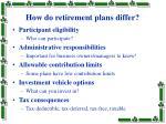 how do retirement plans differ