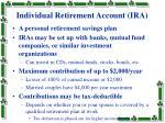 individual retirement account ira